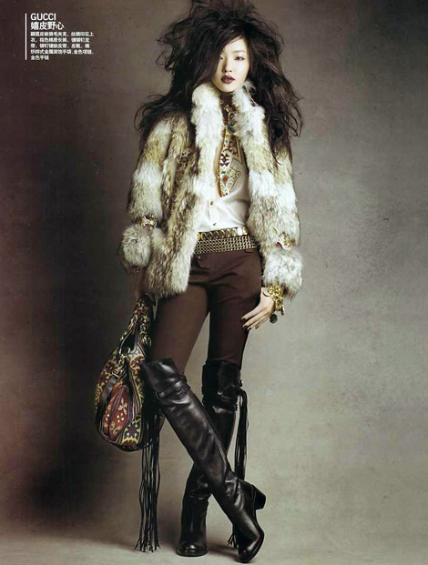 Boot Fashion: Du Juan in Gucci Over The Knee Boots. Vogue China, 02.2008.