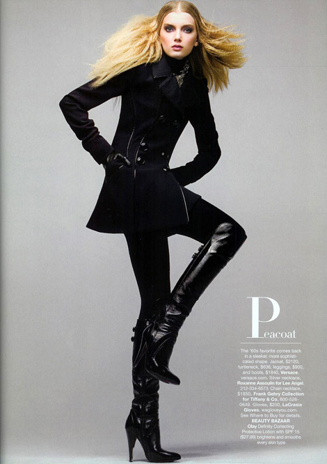 Boot Fashion: Lily Donaldson in Versace Knee High Boots. Harper's Bazaar US, 09.2006.