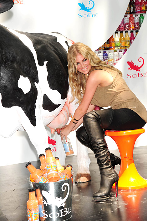 "Celebrities in Boots: Kate Upton in Christian Louboutin Thigh High Boots. SoBe ""Try Everything"" Campaign. NYC, 05.26.2011."