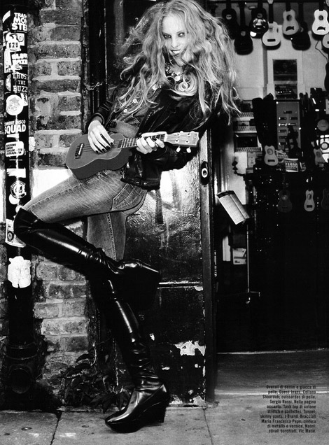Boot Fashion: Sarah Stephens in Sergio Rossi Over The Knee Boots. Vogue Italia, 09.2009.