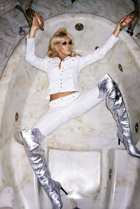 Boot Fashion: Nicole Valeria in Silver Over The Knee Boots. Sisley S/S Campaign, 2005.