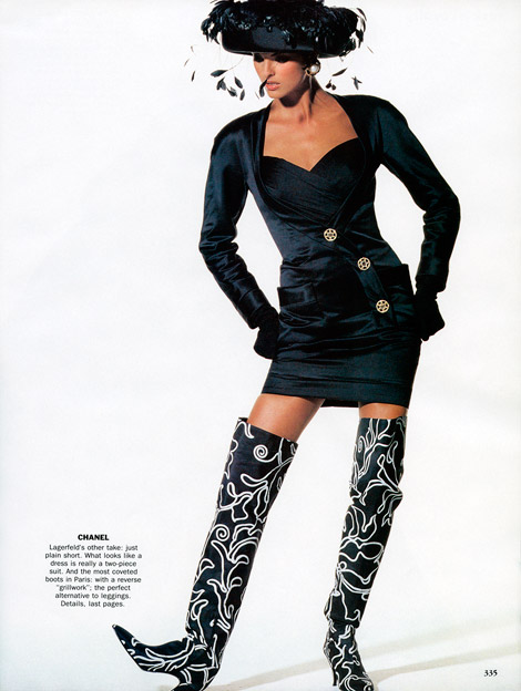 Boot Fashion: Christy Turlington in Chanel Thigh High Boots. Vogue US, 10.1990.