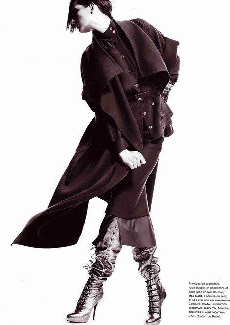 Boot Fashion: Karolin Wolter in Unlaced Christian Louboutin Boots. Numéro Magazine 105, 08.2009.