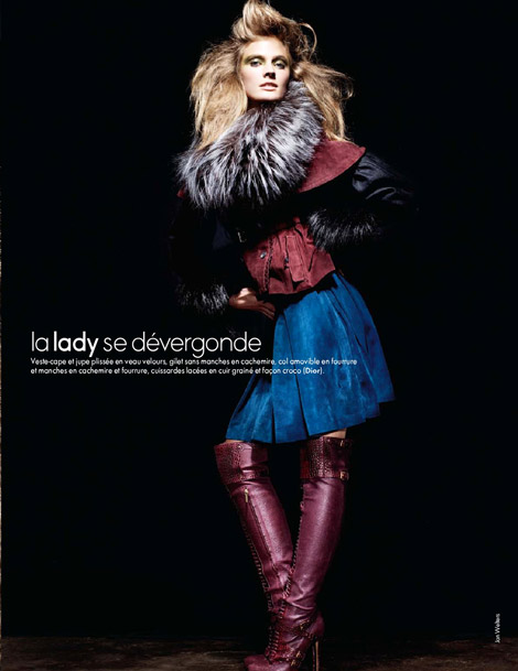 Boot Fashion: Constance Jablonski in Christian Dior Over The Knee Boots. Elle France, 09.2011.
