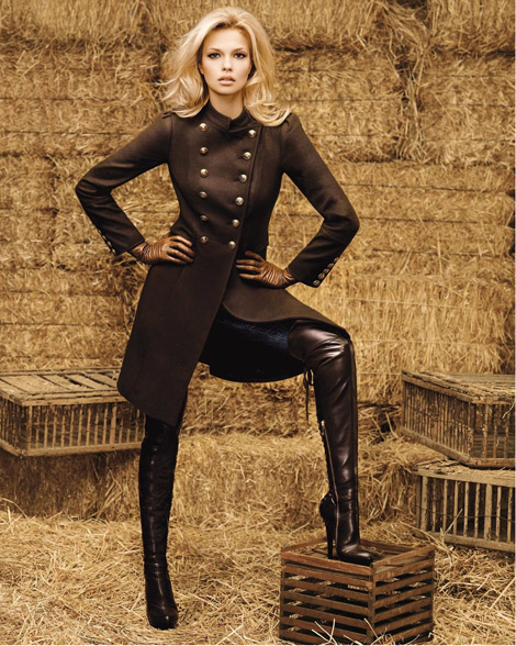 Boot Fashion: Katsia Zingarevich in Bebe Over The Knee Boots. Bebe F/W Look Book 2010.