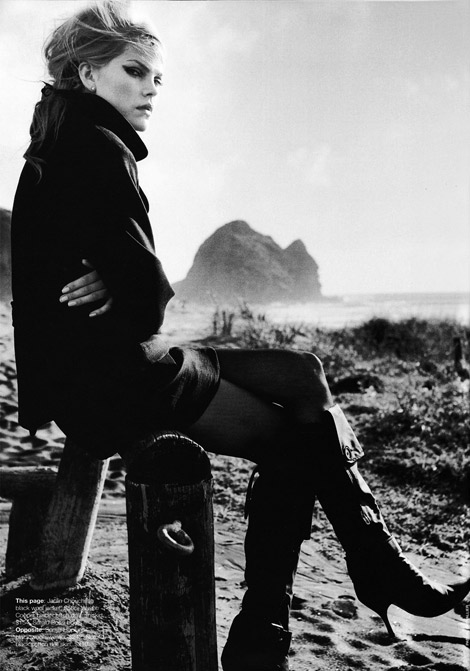 Boot Fashion: May Andersen in Sergio Rossi Knee High Boots. Vogue Australia, 03.2003.