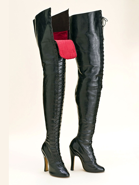 Vintage Boots Crotch High Leather Lace Up Boots Europe