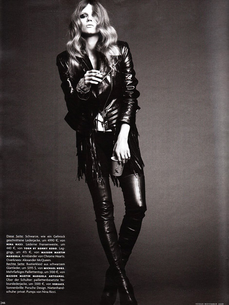 Boot Fashion: Masha Novoselova in Alexander McQueen Thigh High Boots. Vogue Germany, 11.2009.