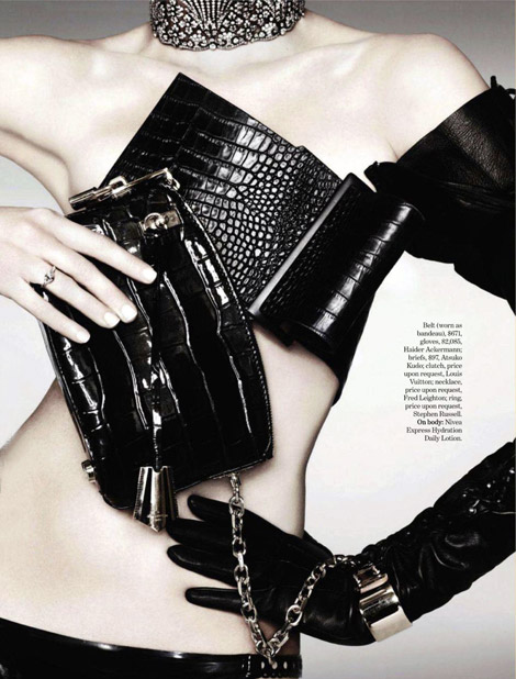 Glove Fashion: Model Unknown. Haider Ackermann Leather Shoulder Glove. Marie Claire, 09.2011.