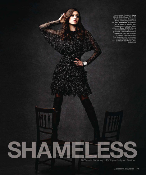 Celebrities in Boots: Emmy Rossum in Gio Diev Over The Knee Boots. L.A. Confidential Magazine, 09.2011.