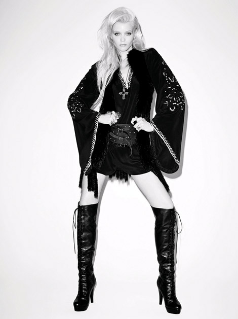 Boot Fashion: Abbey Lee Kershaw in Moussy Over The Knee Laced Boots. Moussy F/W 2011/12 Campaign.