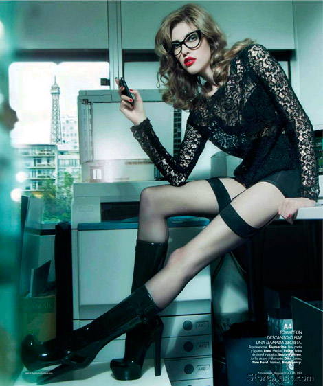 Boot Fashion: Yulia Kharlapanova in Louis Vuitton Rubber Boots. Harper's Bazaar Mexico, 11.2011.