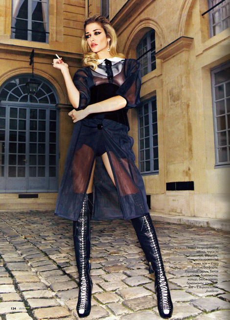 Boot Fashion: Ana Beatriz Barros in Trussardi Laced Over The Knee Boots. Elle Russia, 12.2011.