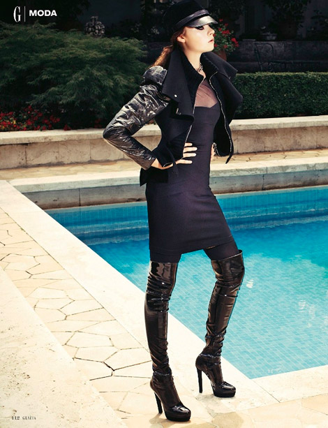 Boot Fashion: Donna in Gucci Patent Over The Knee Boots. Grazia #48, 11.2011.