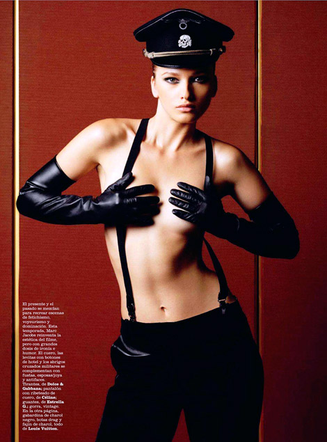 Gloves Fashion: Unknown Model in Estrella G Leather Opera Gloves. Marie Claire Spain, 10.2011.