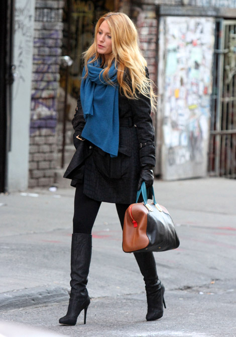 Celebrities In Boots Blake Lively In Jimmy Choo Knee High