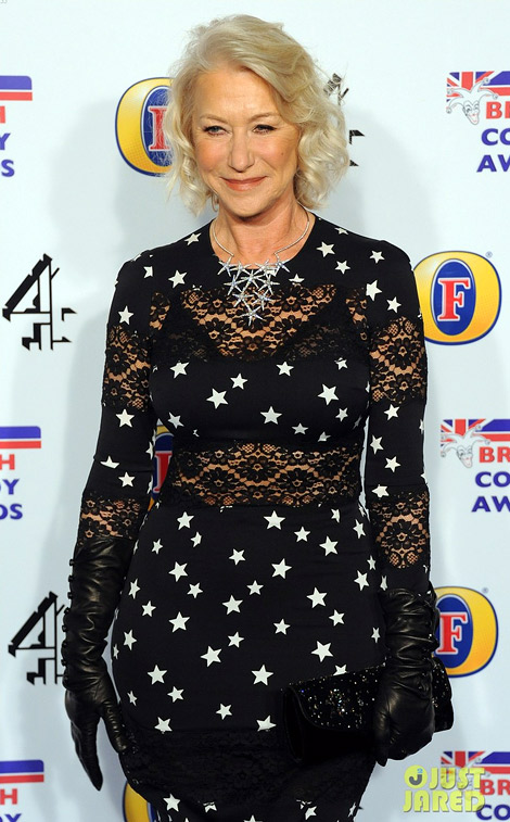 Celebrities in Gloves: Helen Mirren in Paula Rowan Leather Gloves. London, 12.16.2011.