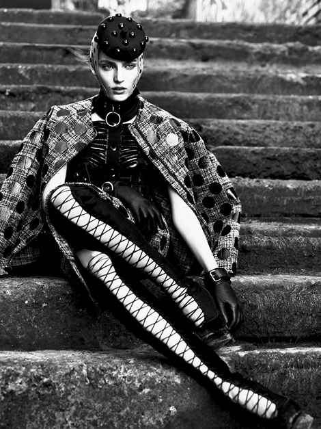 Boot Fashion: Emily Baker in Alexander McQueen Thigh High Boots. Interview Magazine, 09.2011.