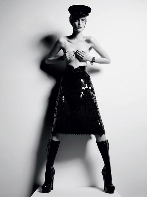 Boot Fashion: Thairine Garcia in Louis Vuitton Rubber Platform Boots. Elle Brasil, 12.2011.