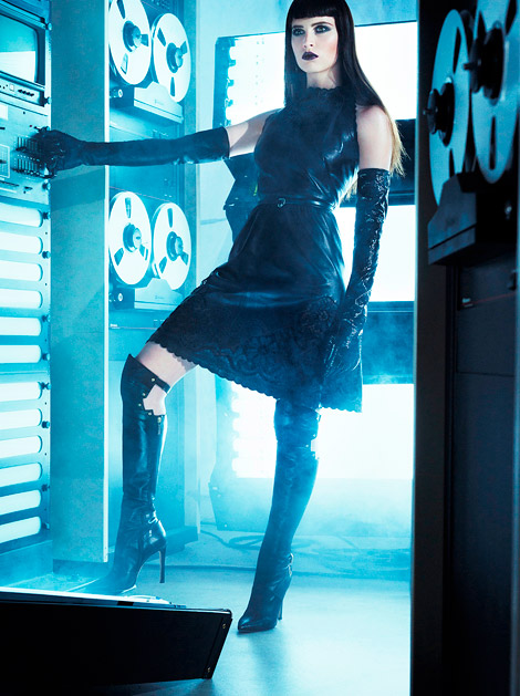 Celebrities in Boots/Gloves: Felicity Jones in Gio Diev Over The Knee Boots and Roberto Cavalli Patent Leather Opera Gloves. Vogue Italia, 03.2012.