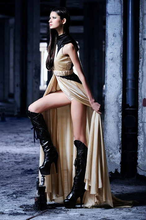 Boot Fashion: Marinka Pelivan in Knee High Boots. Alduk Fall/Winter 2011 Campaign.