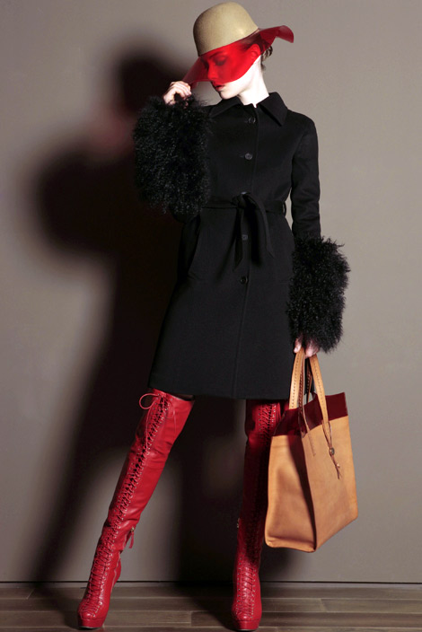 Boot Fashion: Basia Szkaluba in Trussardi Laced Thigh High Boots. Trussardi F/W 2011 Look Book.