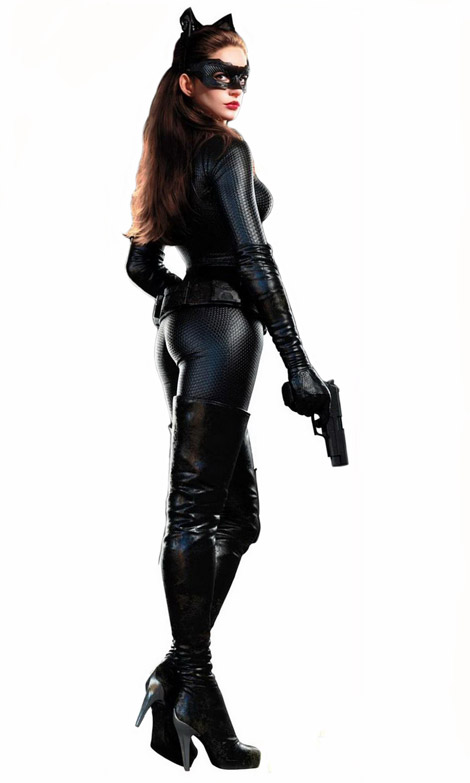 Celebrities in Boots/Gloves: Anne Hathaway in Thigh High Boots and Opera Gloves. The Dark Knight Rises Promo, 2012.