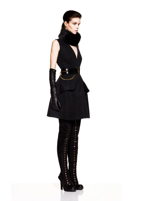 Boot/Glove Fashion: McQ Laced Thigh High Boots and Leather Opera Gloves. Fall/Winter 2012 Look Book.