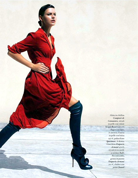 Boot Fashion: Oksana Gedroit in Sergio Rossi Over The Knee Boots. IO Donna Magazine, 10.2011.