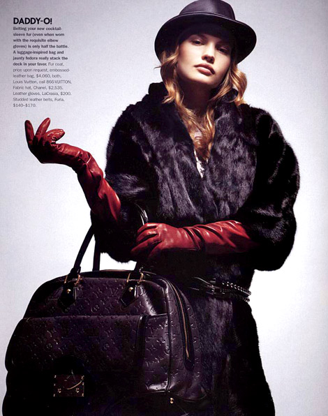 Glove Fashion: Yulia Vasltsova in La Crasia Red Leather Elbow Length Gloves. Elle Accessories, Fall 2006.