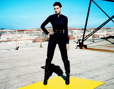 Celebrities in Boots: Jessica Paré in Gianvito Rossi Knee High Boots. Elle US, 07.2012.