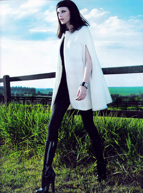 Boot Fashion: Thairine Garcia in Louis Vuitton Rubber Platform Boots. Harper's Bazaar Brasil, 05.2012.