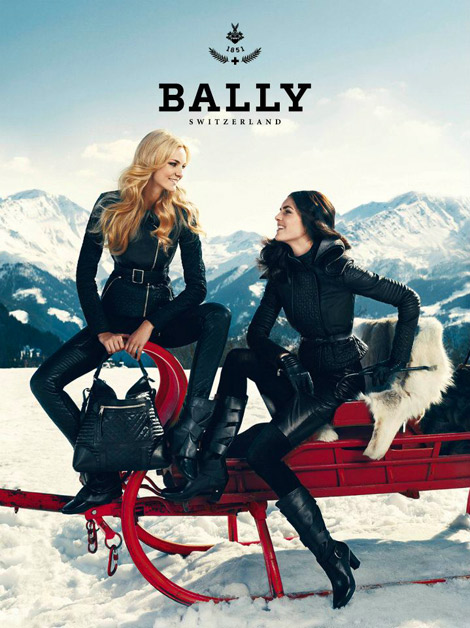 Boot Fashion: Hilary Rhoda and Caroline Trentini in Bally Knee High Boots. Bally Fall/Winter 2012 Campaign.