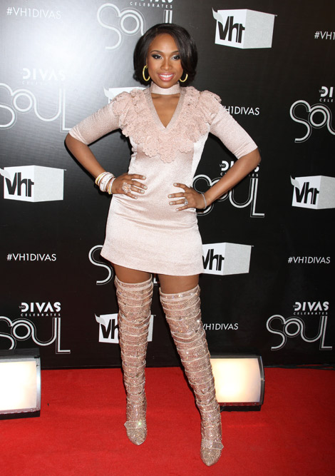 Celebrities in Boots: Jennifer Hudson in Francesco Scognamiglio Thigh High Boots. New York City, 12.18.2011.
