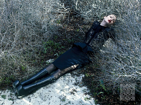 Boot Fashion: Karmen Pedaru in Louis Vuitton Rubber Knee Boots. Vogue Italia, 08.2011.