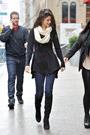 Celebrities in Boots: Selena Gomez in Knee High Boots. New York City. 12.31.2011.