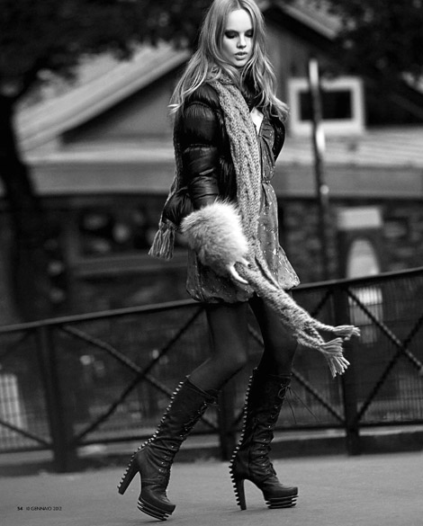 Boot Fashion: Unknown Model in Byblos Studded Knee High Boots. Tu Style Italy, 01.2012.