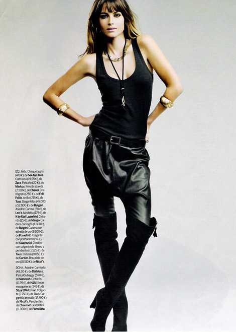 Boot Fashion: Ariadne Artiles in Stuart Weitzman Over The Knee Boots. Elle Spain, Fall 2009.