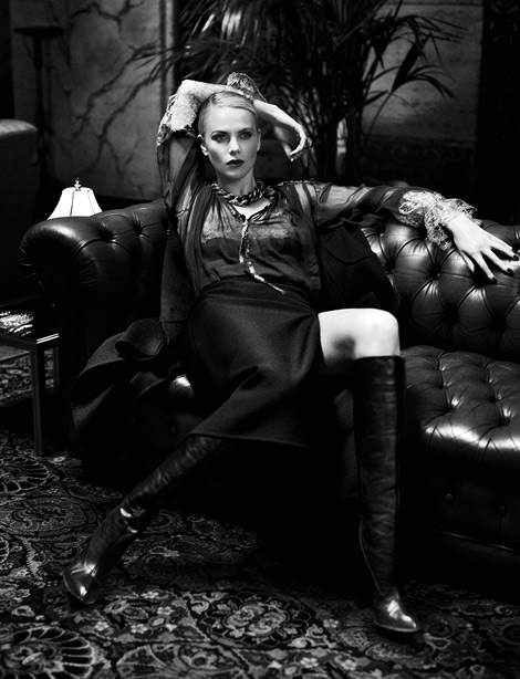 Celebrities in Boots: Charlize Theron in Calvin Klein Knee High Leather Boots. Interview Magazine, June/July 2012.