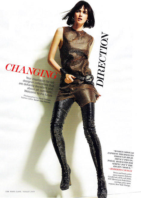 Boot Fashion: Rachel Alexander in Roberto Cavalli Crotch High Boots. Marie Claire US, 08.2009.