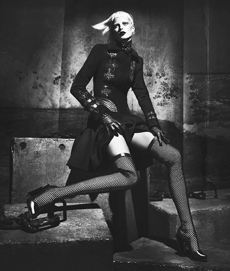 Boot Fashion: Elza Luijendijk in Versace Thigh High Boots. Versace Fall/Winter 2012.13 Campaign.