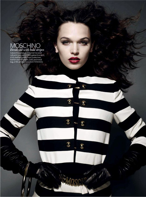 Glove Fashion: Anna Brewster in Moschino Leather Opera Gloves. InStyle UK, 09.2010.