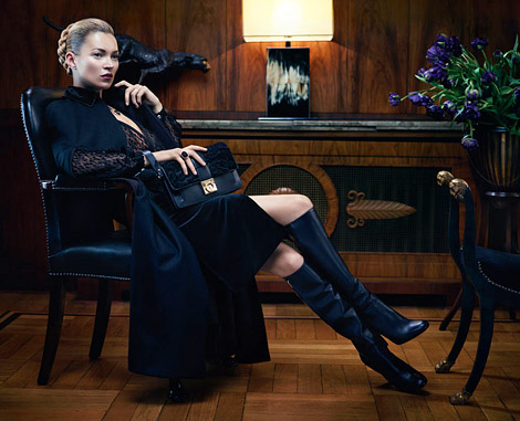Boot Fashion: Kate Moss in Salvatore Ferragamo Knee High Boots. Salvatore Ferragamo Fall/Winter 2012/13 Campaign.