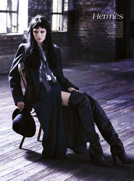 Boot Fashion: Victoria Anderson in Hermès Thigh High Boots. Vogue Australia, 08.2012.