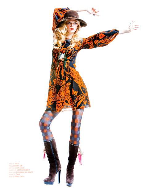 Boot Fashion: Jennifer Pugh in Jimmy Choo Boots. West/East Magazine #36, Spring/Summer 2012.