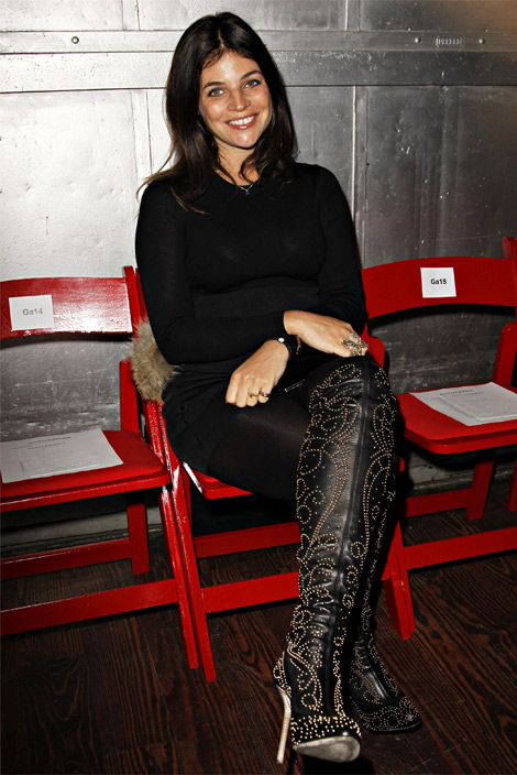 Celebrities in Boots: Julia Restoin-Roitfeld in Sergio Rossi Thigh High Boots. New York City, 02.21.2012.