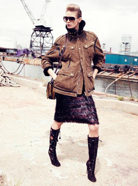 Boot Fashion: Julia Stegner in Jimmy Choo Knee High Boots. Harper's Bazaar UK, 08.2012.