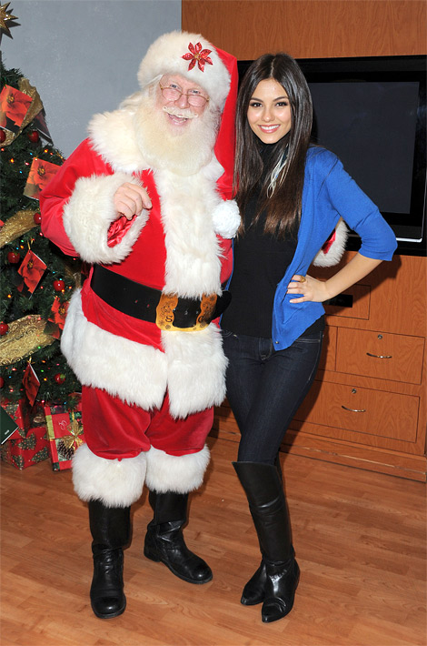 Celebrities in Boots: Victoria Justice in Over The Knee Boots. Orange County, CA. 12.19.2011.