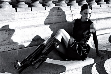 Boot Fashion: Adina Forizs in Louis Vuitton Rubber Platform Boots. Kurv Magazine #25, Winter 2011.