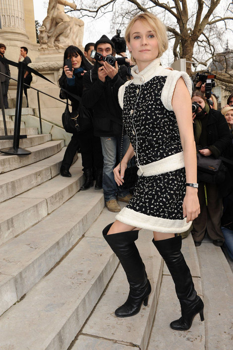 Celebrities in Boots: Diane Kruger in Chanel Over The Knee Boots. Paris, 01.24.2012.